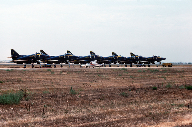 A view of the six A-4 Skyhawk aircraft used by the Blue Angels Flight Demonstration Team, parked. The Blue Angels will perform during the air show