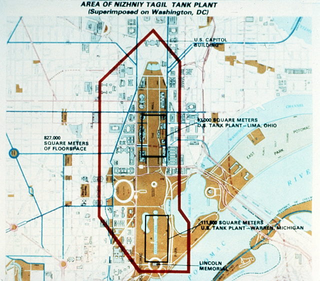 A chart showing an outline of the Soviet Nizhniy Tagil tank plant superimposed over a Washington D.C. map. Two U.S. tank plants are also shown within the area. (PHOTO courtesy of Soviet Military Power Magazine, PHOTO #5, Page 11)
