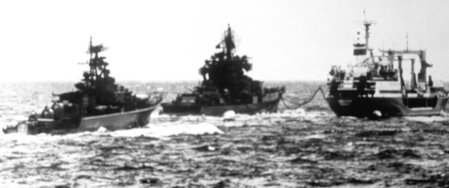A view of a Soviet A Kresta II class guided missile cruiser and KRIVAK II class missile frigate replenish from a Soviet oiler