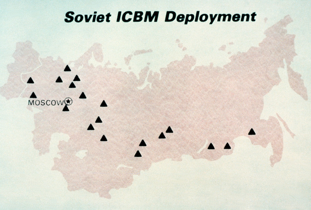 A view of a Soviet intercontinental ballistic missile (ICBM) deployment map