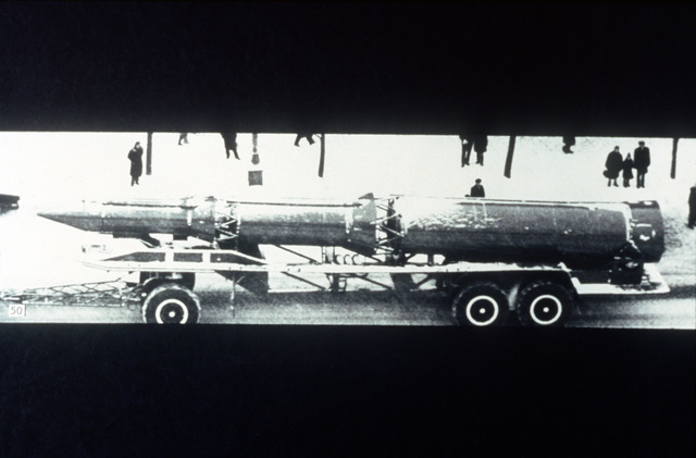 A view of a Soviet SS-13 intercontinental ballistic missile (ICBM). Exact Date Shot Unknown
