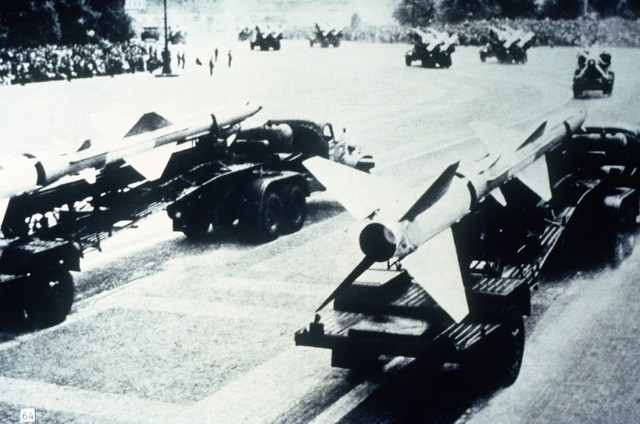 A view of Soviet SA-2 Guideline missiles on transporters