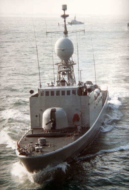 An aerial port bow view of the Thai (Italian-built) fast attack craft-missile RATCHARIT underway