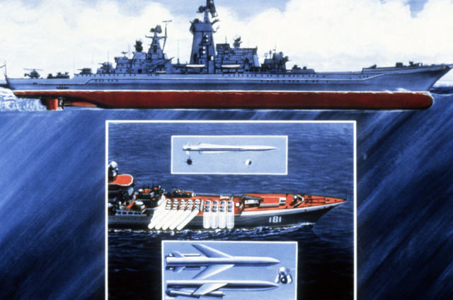 An artist's concept of the Soviet nuclear-powered cruiser KIROV underway. AN insert shows the weapons systems carried aboard the KIROV. PHOTO courtesy of Soviet Military Power Magazine