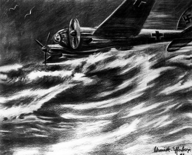 "Artwork: ""A Henkel III on Coastal Patrol"" Artist: Schmidt-Effenberger"