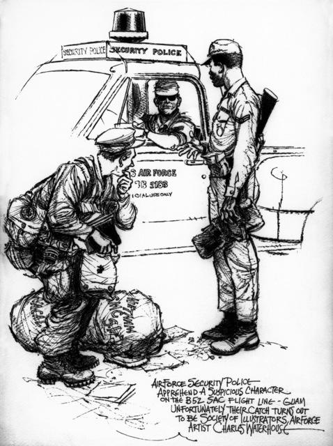 "Artwork: ""Air Police and Artist"" Artist: Charles Waterhouse"