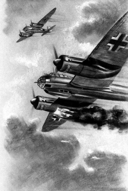 """Artwork: """"AN Engine Fire on a JU-88"""" Artist: H. Recksiegel"""