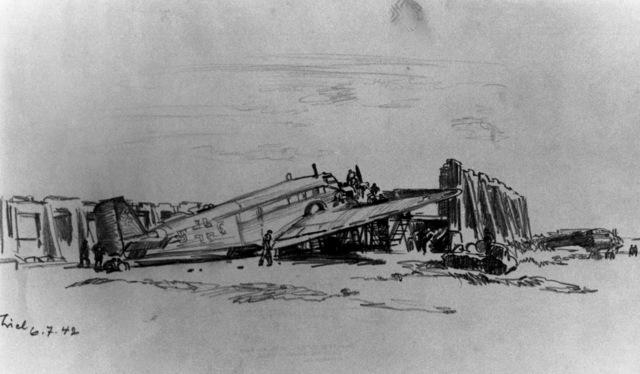"Artwork: ""JU-52 Repairs Near Smolensk"" Artist: J. Theil"