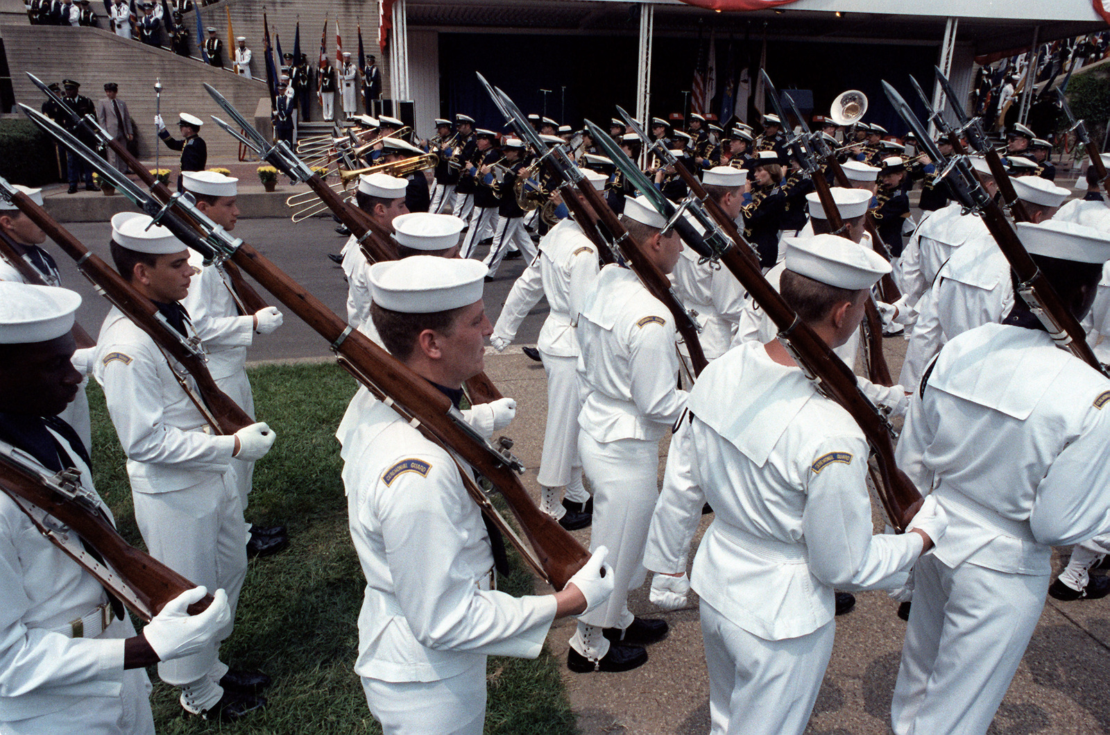 The Navy Ceremonial Guard Marches In A Joint Service Guard Parade - Us-navy-ceremonial-guard