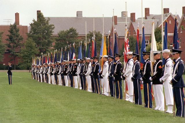 A combined American services honor guard stands at attention during opening ceremonies of the Congress of the International Organization of Reserves