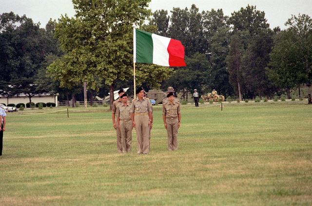 The Italian delegation stands at attention on the parade ground during opening ceremonies for the Congress of the International Organization of Reserves