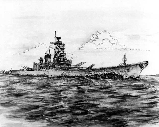 Artist's concept of the battleship USS IOWA (BB-61)