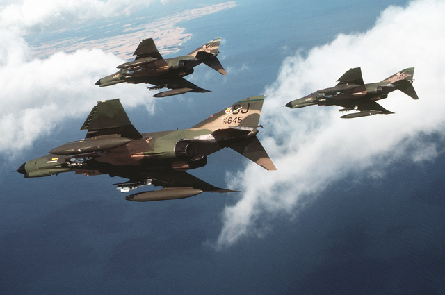 Left view of three F-4E Phantom II aircraft from the 335th Tactical Fighter Squadron, Seymour Johnson Air Force Base, N.C., in flight during Reforger-Coronet Musket
