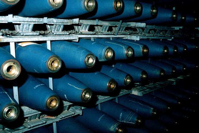 A view of the bomb storage area on the aircraft carrier USS AMERICA (CV 66)