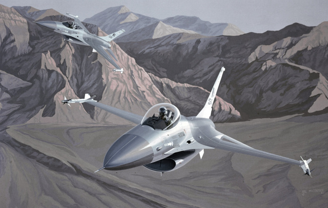 "Artwork: ""F-16's Over Nellis Air Force Base Range at Dawn"" Artist: Hal McCormick"