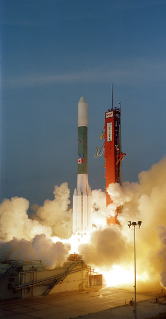 The Delta 164 launch vehicle, carrying the TeleSat 5, a Canadian domestic communications satellite, lifts off from Complex 17B