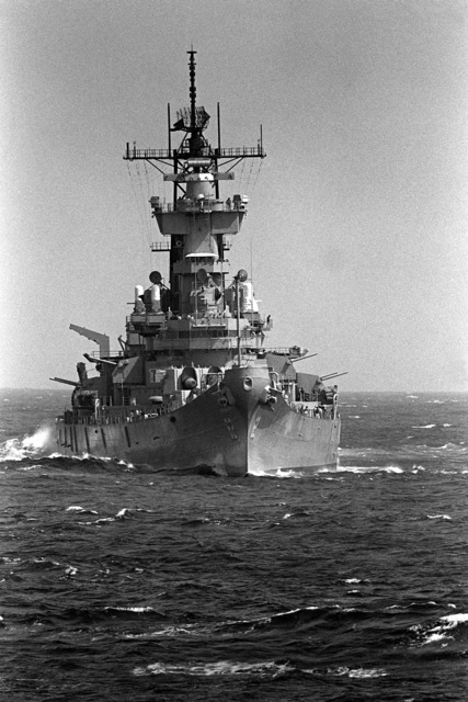 A bow view of the battleship NEW JERSEY (BB-62) during sea trials prior to its recommissioning in January 1983