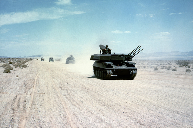 A Sheridan tank modified to look like a Soviet ZSU-23-4 quad 23 mm self-propelled anti-aircraft gun system, is used by members of Company B, 1ST Battalion, 83rd Armor, during weapons and equipment training at the National Training Center
