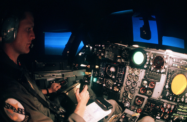 A student assigned to the 4007th Combat Crew Training Squadron undergoes training in the full-motion FB-111 bomber flight simulator
