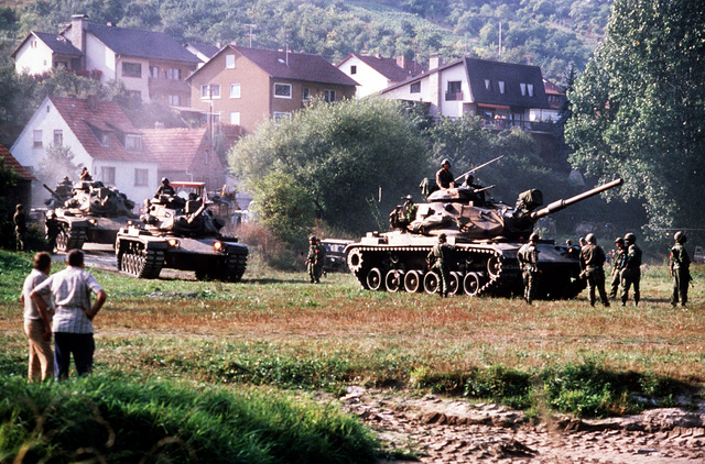 A U.S. Army M-60-A3 main battle tanks on maneuvers during the NATO-sponsored Autumn Forge exercises