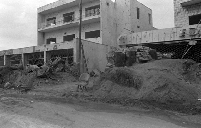 A view of building damaged by bombing during a confrontation between Israeli forces and the Palestine Liberation Organization. U.S. Marines have been assigned to Lebanon as part of a multinational peacekeeping force