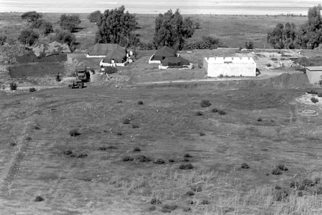 An aerial view of the Company E camp area  U S  Marines have been