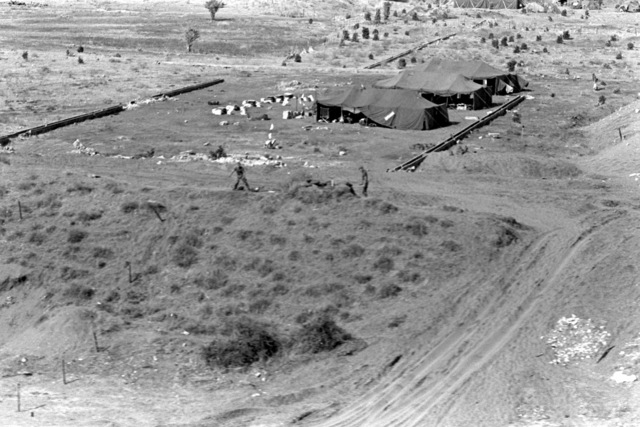 An aerial view of the Company E camp area. U.S. Marines have been assigned to Lebanon as part of a multinational peacekeeping force following a confrontation between Israeli forces and the Palestine Liberation Organization
