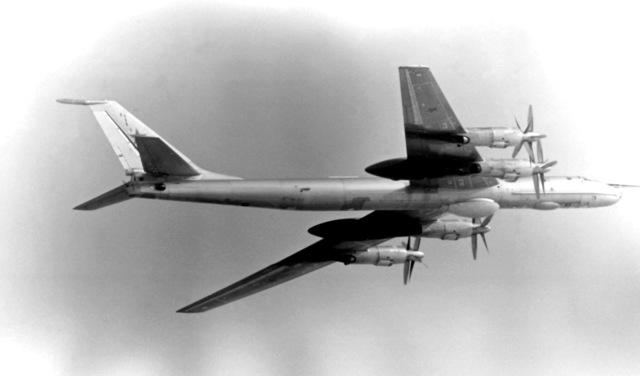 An air-to-air right underside view of a Soviet Tu-142 Bear-F aircraft