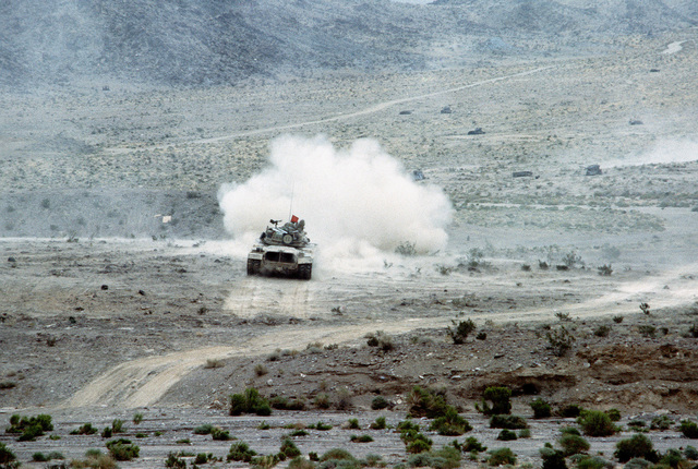 An M60 main battle tank is used by members of Company C, 2nd Platoon, 1ST Battalion, 73rd Armor, during weapons and equipment training at the National Training Center