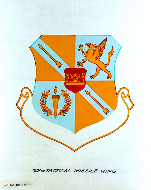 Approved insignia for: 501st Tactical Missile Wing. EXACT DATE SHOT UNKNOWN
