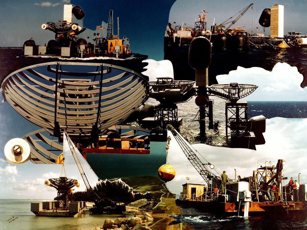 Original photographic montage featuring the antenna array barge