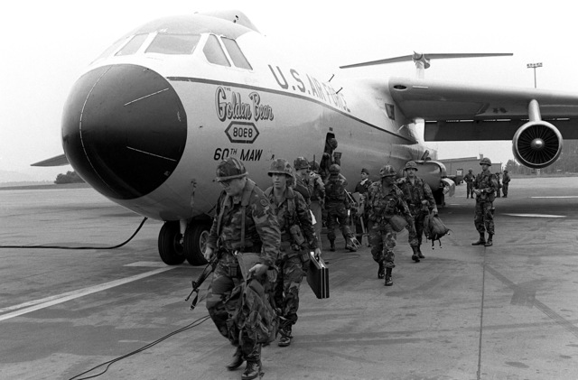 Soldiers of the 3rd Armored Cavalry Regiment, arrive by C-141 Starlifter aircraft for participation in Exercise Reforger '82
