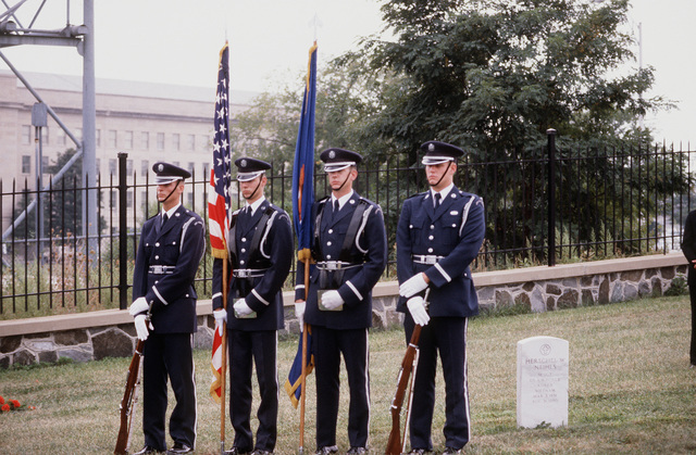 The Air Force Honor Guard participates in a funeral ceremony at the Arlington National Cemetery