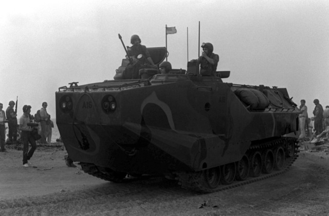 U. S. Marines come ashore in a LVTP-7 tracked landing vehicle. U.S. Marines have been assigned to Lebanon as part of a multinational peacekeeping force after a confrontation between Israeli forces and the Palestine Liberation Organization