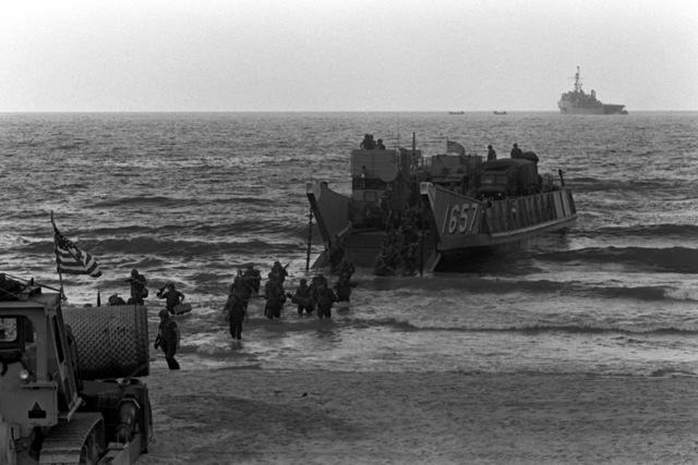 U. S. Marines disembark from the utility landing craft 1657 (LCU-1657). U.S. Marines have been assigned to Lebanon as part of a multinational peacekeeping force after a confrontation between Israeli forces and the Palestine Liberation Organization