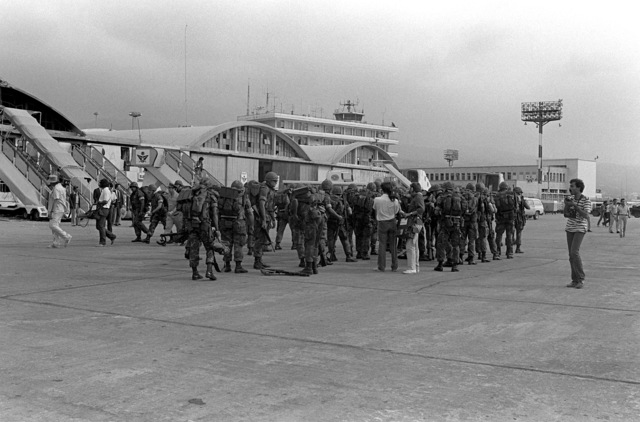 U.S. Marines assemble in ranks upon their arrival at Beirut International Airport. U.S. Marines have been assigned to Lebanon as part of a multinational peacekeeping force following a confrontation between Israeli forces and the Palestine Liberation Organization