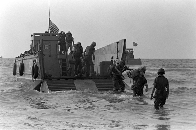 U.S. Marines disembark from a utility landing craft during landing operations. U.S. Marines have been assigned to Lebanon as part of a multinational peacekeeping force following a confrontation between Israeli forces and the Palestine Liberation Organization