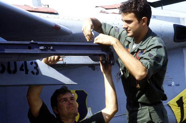 TSGT Minor Cover, left, and SRA Gary Tibbitt work on a rail of an F-15D Eagle aircraft during the Crested Cap III phase of Reforger '82 exercises
