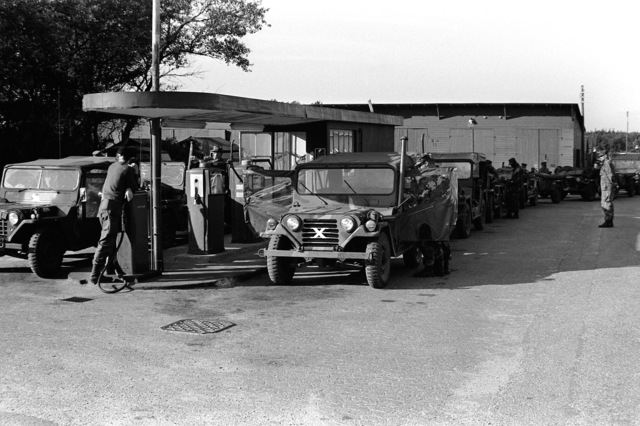 Jeeps from the 2nd Marine Division are filled up with gas prior to the start of Operation Northern Wedding '82