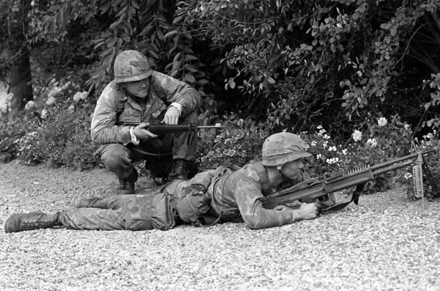 "CPL Blum and LCPL Macknight from the 4th Marine Amphibious Brigade search the terrain for ""enemy forces"" during Operation Northern Wedding '82"