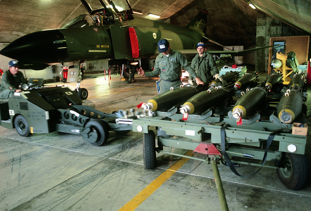New Jersey Air National Guardsmen participate in a bomb uploading Exercise during Reforger (Coronet Rawhide)