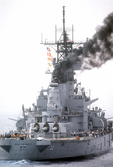 A close-up starboard view of the battleship USS NEW JERSEY (BB-62) during sea trials