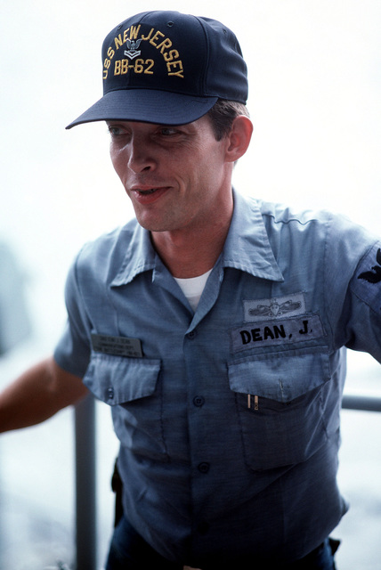 A crewman aboard the battleship USS NEW JERSEY (BB 62). The NEW JERSEY, undergoing sea trials after recently completing a period of modernization and renovations, is scheduled to be reactivated in January 1983