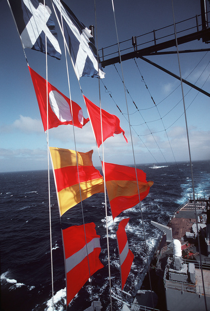 A view of signal flags aboard the battleship USS NEW JERSEY (BB 62). The NEW JERSEY, after recently completing renovation and modernization, is undergoing sea trials prior to reactivation in January 1983