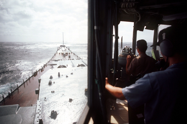 A view of the forward deck of the battleship USS NEW JERSEY (BB 62). The NEW JERSEY, after recently completing renovation and modernization, is undergoing sea trials prior to reactivation in January 1983