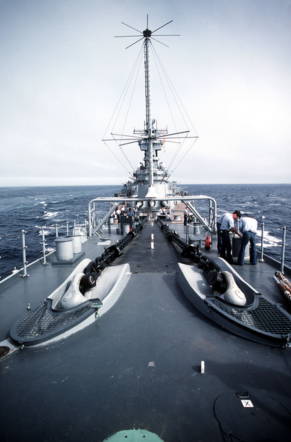 Anchor chains lay across the forward deck of the battleship USS NEW JERSEY (BB 62). The NEW JERSEY, after recently completing renovation and modernization, is undergoing sea trials prior to reactivation in January 1983