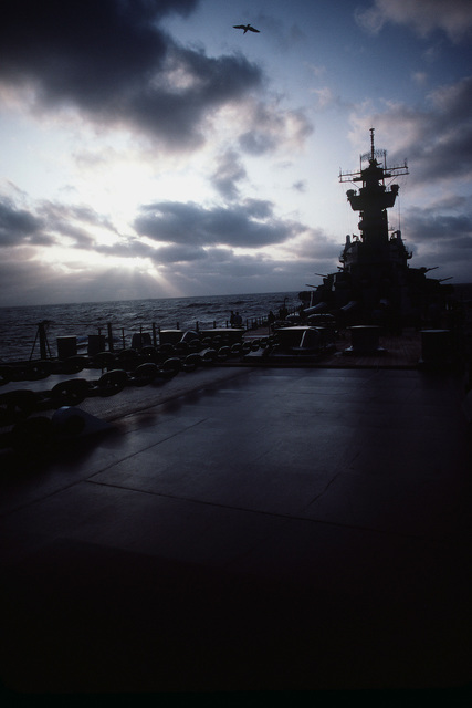 Anchor chains stretch across the forward deck of the battleship USS NEW JERSEY (BB 62). The NEW JERSEY, after recently completing renovation and modernization, is undergoing sea trials prior to reactivated in January 1983