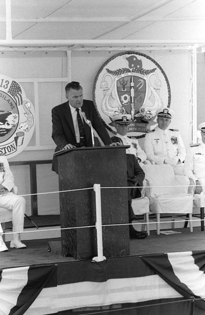G.A. Sawyer, assistant secretary of the Navy, speaks during the commissioning ceremony of the nuclear-powered attack submarine USS HOUSTON (SSN 713)