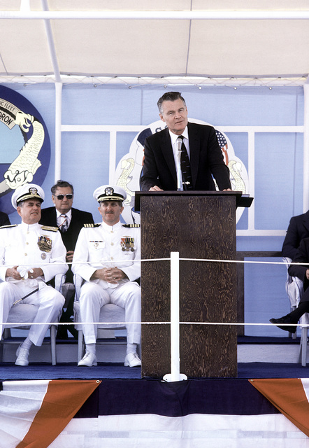 G.A. Sayer, assistant secretary of the Navy, speaks to the audience during the commissioning ceremony for the nuclear-powered attack submarine USS HOUSTON (SSN-713)