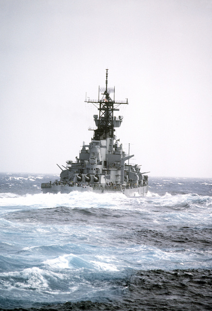 Starboard quarter view of the battleship USS NEW JERSEY (BB-62) during sea trials